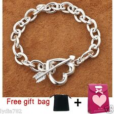 New Fashion 925 Silver Plated Filled Heart Arrow Bracelet Lover Free Gift Bag