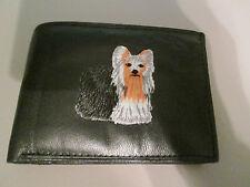 Men's Genuine Leather Handcraft Black Yorkie Bi-Fold Wallet NWOT Embroidered