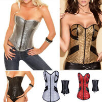 Shiny Corset Sexy Goth Overbust Bustiers w/ G-string Lace Up Zip Front S-2XL USA