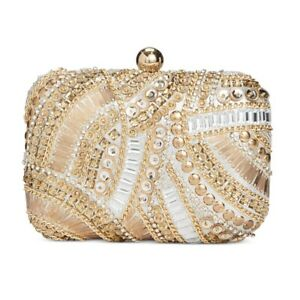 INC Jocelyn Beaded Clutch Purse With Chain Strap Gold Embellished NEW NWT 120.00