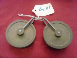 pulleys bou#1 Pair of large vintage 8 day long case clock weight pulleys
