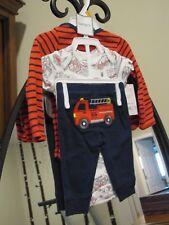 Baby Boy CARTERS Red Blue Little Chief Firetruck Outfit Newborn Brand New