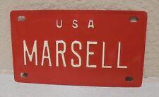 1960'S VINTAGE MINI USA MARSELL LICENSE PLATE NAME TAG SIGN BICYCLE VANITY PL8!