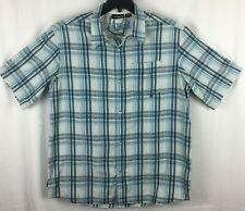Red Sand Original Shirt Mens XXL Blue White Plaid Short Sleeve 100% Cotton