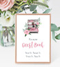 Polaroid Camera Guest Book Wedding Sign Photo Booth Sign - Pink Floral - Digital