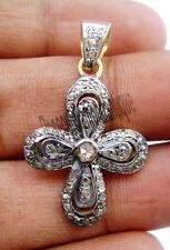 ARTDECO 1.30ct ANTIQUE ROSE CUT DIAMOND 925 SILVER VICTORIAN CROSS STYLE PENDANT