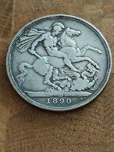 1890 British Queen Victoria Jubilee Head St George and Dragon Silver Crown Coin