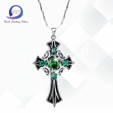 Fashion Lady Cross Pendant Emerald 925 Sterling Silver Real Women Necklace