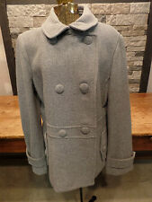 Talbot's Wool Pea Coat Double Breasted Gray Button Front Women's Sz 16 NWT $249