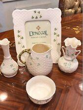 Irish  Bellee Shamrock Basket Weave Creamer,2 Vases, Photo Frame, Sugar Bowl Set
