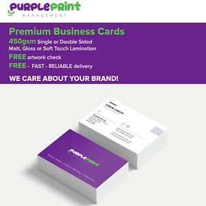 Premium quality printed laminated business cards Silk card - gloss or matt lam