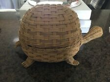 VINTAGE WICKER TURTLE BASKET FOR SEWING CRAFTS PERFECT