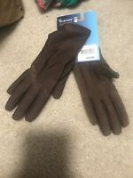 ISOTONER Brown Stretch Metallic Hem smarTouch Lined Womens Gloves One Size