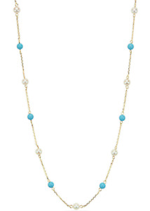 14K Yellow Gold Necklace With Turquoise And Freshwater Pearls 20 Inches