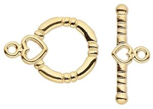 10 Sets Gold Plated Brass 16x13mm Toggle Clasps with Hearts *