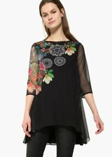 Desigual Black Floral Chiffon Tunic Top Valery XL (UK16)