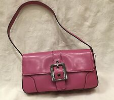 NWT Women's GUESS Small ORCHID Purple Silver Belt Buckle Vinyl Handbag PURSE $35