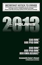 Polaris Owners Manual Book 2013 800 PRO RMK