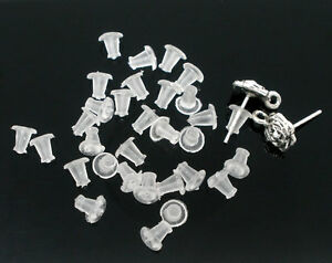 Clear Soft Rubber Stoppers/Backs for Earrings, Stud Backs/Bullets/Nuts