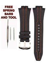 Seiko Sportura SNJ007P1 27mm Orange Stitch Black Leather Watch Strap Band SKO113