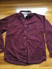Mens Columbia Maroon Long Sleeve Button Up Shirt, Size L Large Cotton