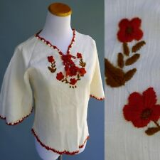 Vtg 70s Mexican Cotton Gauze Top Floral Embroidery Yarn Crochet Trim Nos New S