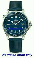 20mm LEATHER STRAP NAVY BLUE & DEPLOYANT CLASP for  OMEGA DIVER 300M Co-Axial