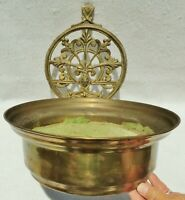 "Large Antique/Vtg 14"" Ornate Heavy Brass Bronze Hanging Wall Pocket Planter Pot"