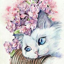 Neu DIY Diamant Malerei Stickerei Katze Schönheit Painting Cross Stitch Wandbild