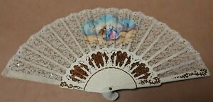 VINTAGE HAND HELD LACE HAND PAINTED FOLDING FAN