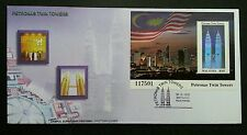 Petronas Twin Towers Malaysia 1999 Tourist KLCC Flag (FDC *Hologram *see descrip