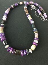 Native American Rare Natural Purple Sugilite Bead Sterling Silver Necklace