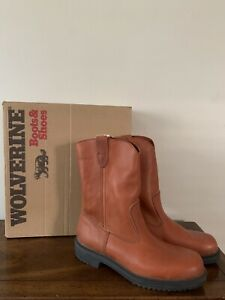 NEW WOLVERINE Brown Leather Western Work Boots Mens Sz 9 D USA MADE VTG NOS