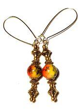 Long Orange Earrings Prom Bridal Vintage Gold Style Boho Drop Dangle Glass Bead