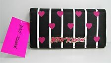 Betsey Johnson Black White Stripe Snap Wallet Pink Sparkle Hearts 2 in 1