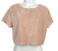 Wild Fable Pink Crop Top Short Sleeve Knit Soft Micro Ribbed Stretchy