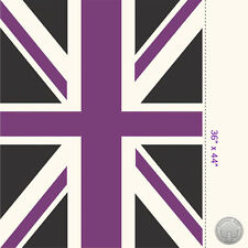 Riley Blake Union Jack Flag Panel Purple & Black Fabric Great Britain London