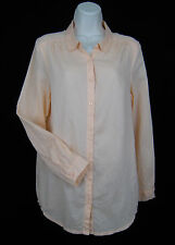 H&M Divided Button Down Collar Blouse Top Women Size 4 Peach Long Sleeve