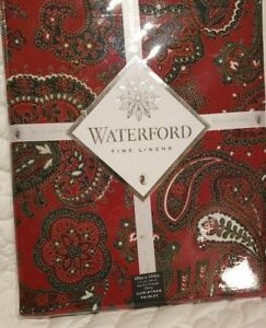 """NWT Waterford Fine Linens Christmas Paisley Red 60""""x104"""" Oblong Tablecloth NEW"""
