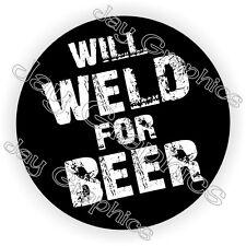 WILL WELD FOR BEER Hard Hat Sticker / Motorcycle Helmet Decal / Funny Welder USA