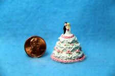 Dollhouse Miniature Wedding Cake with Pink Flowers & Bride and Groom ~ A1719