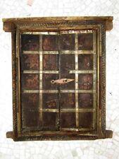 Old Antique Wooden Hand Carved Brass Work Window Door