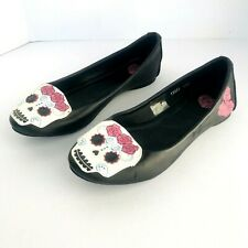 TUK DAY OF THE DEAD SKULL ROSES BALLET FLATS BLACK SLIP ON ROCKABILLY PUNK SZ. 7