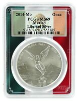 2014 Mexico 1oz Silver Onza Libertad PCGS MS69 - Flag Frame