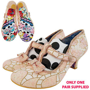 Irregular Choice Lazy River Heel Shoe White Pink Glitter Sparkle Size UK 8.5 NEW