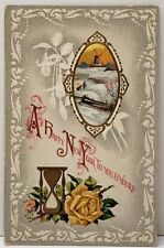Happy New Year Embossed Cameo Picture Gold Hourglass Postcard E17