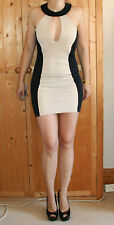 Nude & Black Optical Illusion Hourglass Bodycon Party Dress Amy Childs Sz 10-12