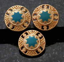 """3 Large Buttons Kelly Green Enamel and Gold Metal Button Large 1"""" Pierced Design"""