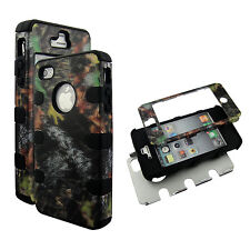 Bk Camo Stem Hybrid 3 in1 Apple  Iphone 4 4S Case Hard Cover Faceplate