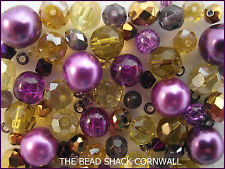 Glass Bracelet Making Kit / Bead Mix - Purple & Gold - Arabian Night